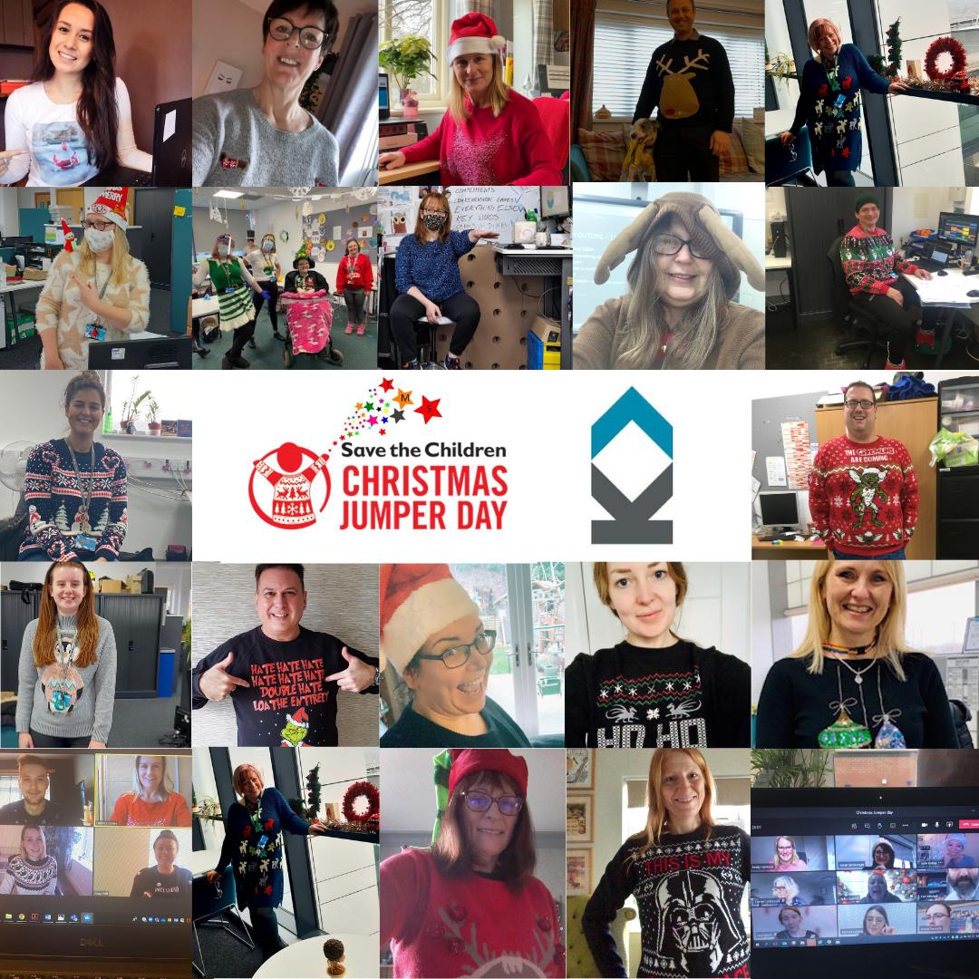 Kirklees College staff wearing Christmas jumpers